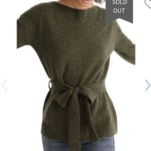 Madewell Boatneck Tie-Waist Pullover Sweater NWT